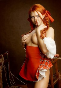 Gorgeous busty redhead topless in an interesting… – Heavenly Redheads