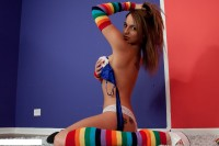 Nikki Sims in long socks like cute teen girl