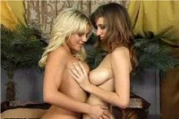Shay Laren and Bree Olson lick each other's tits