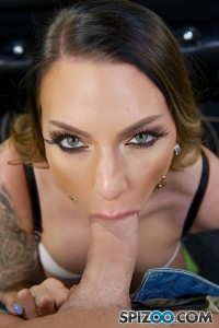 Nasty tattooed brunette blowjob skills POV