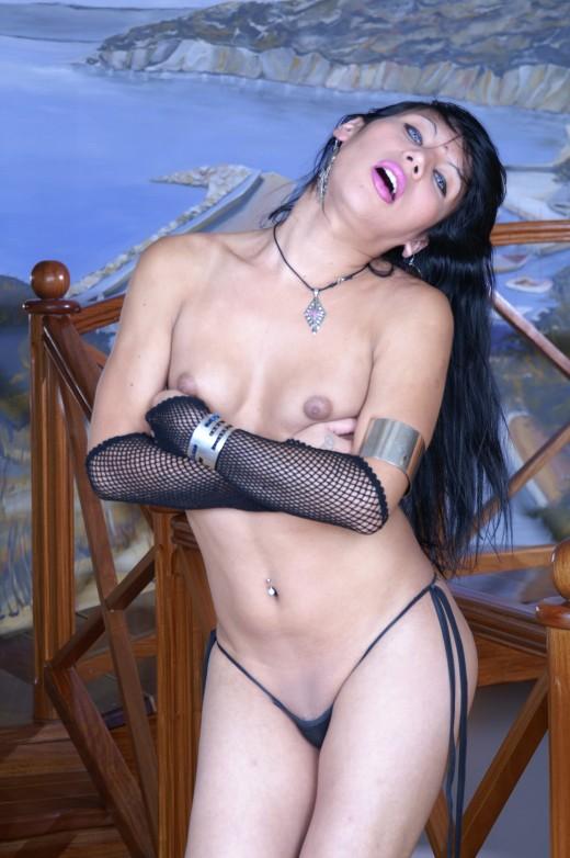 Brunette ladyboy Andreita gets hard anal sex