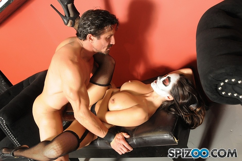 Busty masked MILF Ava Adams facialized