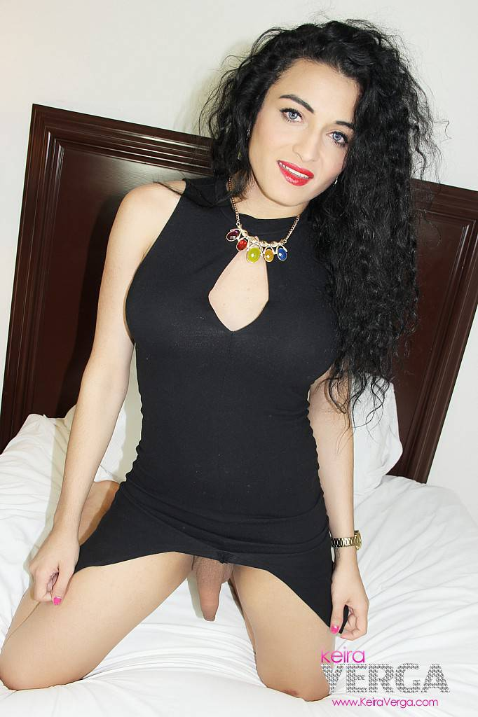 Short black dress and cock hanging