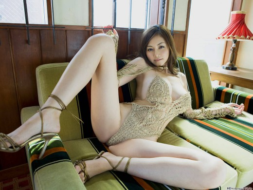 Half-naked Asian girl with long legs.
