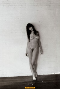Daisy Lowe full frontal nude black-&-white image
