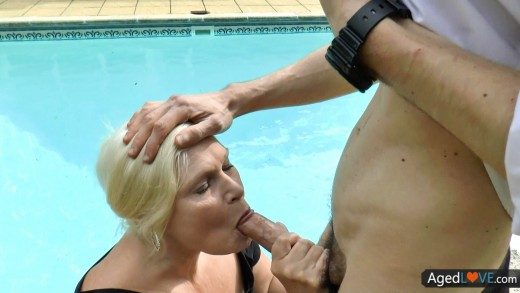 AGEDLOVE Blonde is sucking cock near the pool