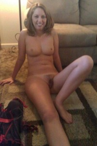 Naked Mom shows hairy pussy