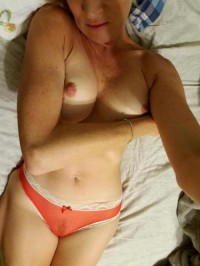 Red panties and small tits