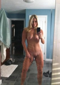 Athletic MILF blonde without any clothes