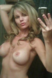 Sexy blonde MILF girl mirror selfie