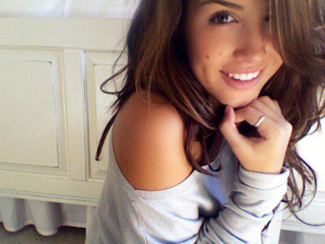 Cute teen girl with birthmark selfshot
