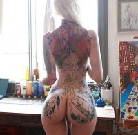 Sexy tattooed blonde