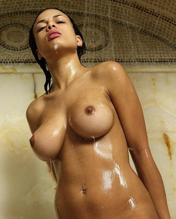 Wet girl with perfect natural tits