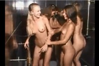 A multitude of beautiful girls in the shower