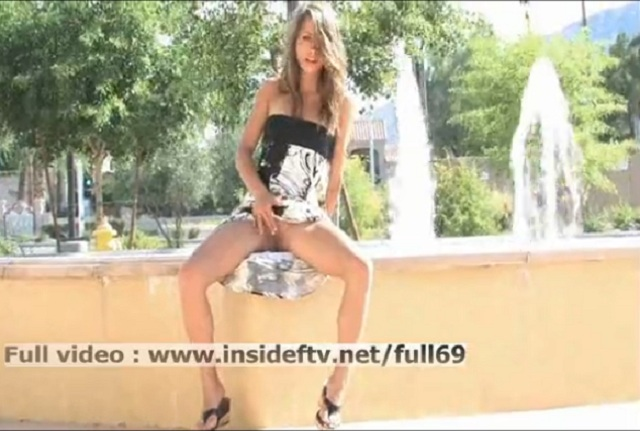 Naughty amateur girl masturbating in public