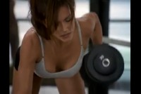 Sexy brunette Krista Allen at the gym exercise