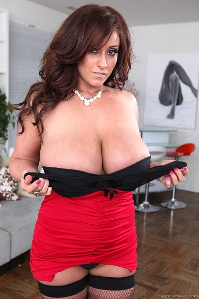 Eva Notty stunning MILF with big tits in sexy red black lingerie