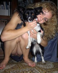 Pic of a dog and a amateur slut without panties