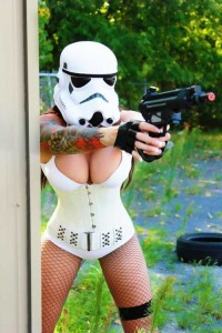 Star wars hot girl with a gun tattooed arm
