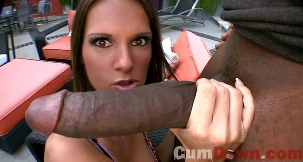 Amazing brunette in amazing head interracial photo | CumDown.com