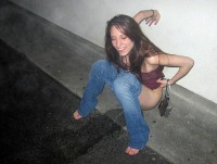 Drunk girl pees on the street