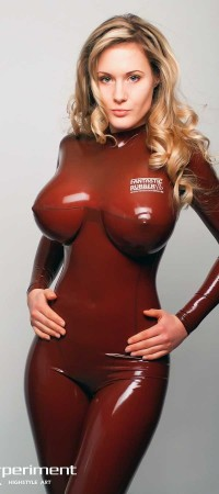 Hot blonde babe with big tits in latex
