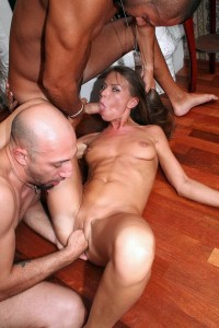 Threesome with slim brunette. Fucking, sucking and fisting!