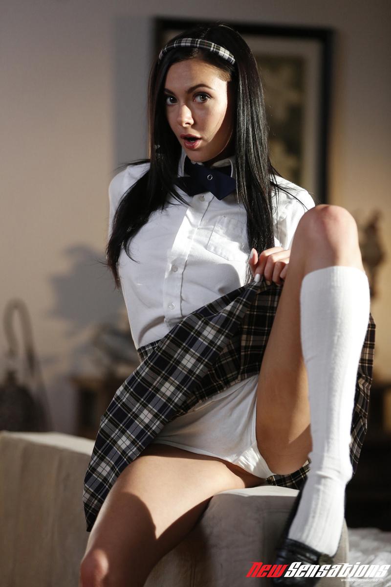 Sex Images  Skinny Brunette Schoolgirl Marley Brinx Gets -9086