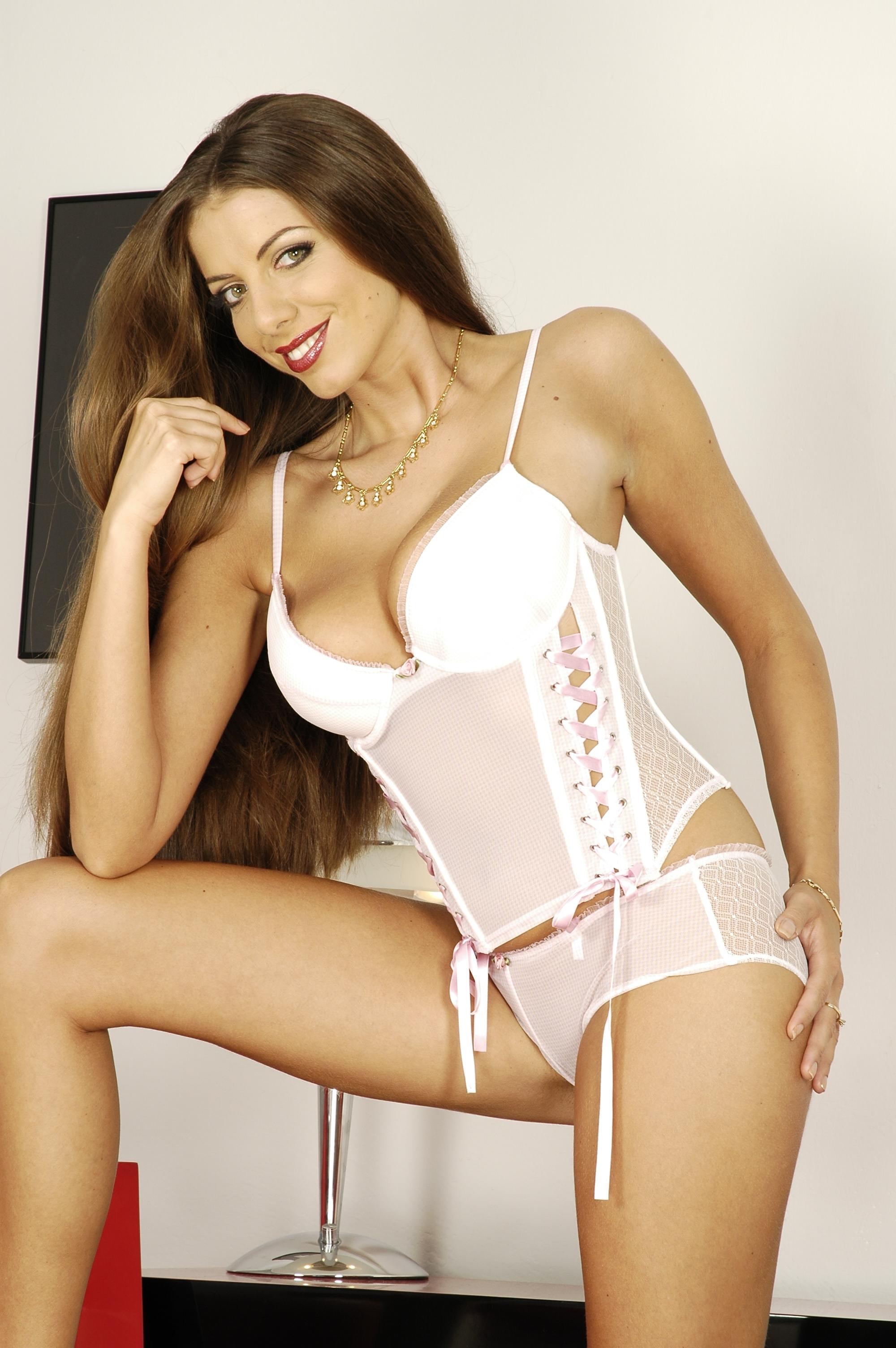Gorgeous babe Monika in white lingerie