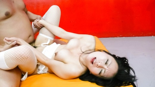 Asian in fishnets is well fucked