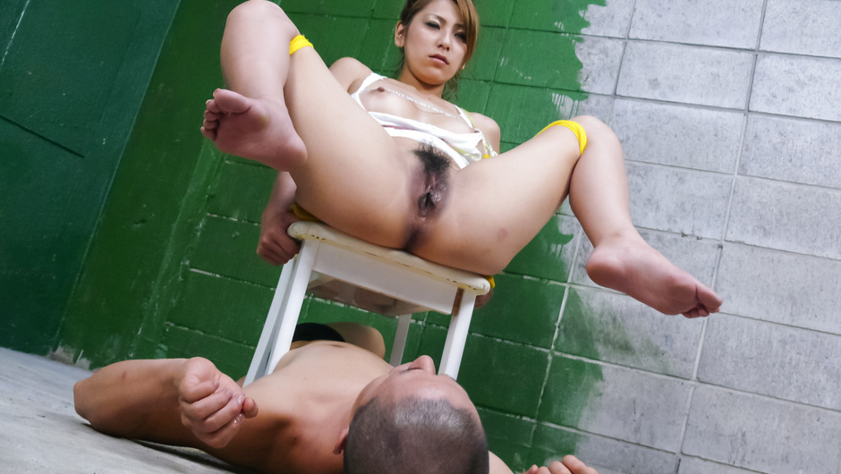 Asian milf blowjob while in bondage