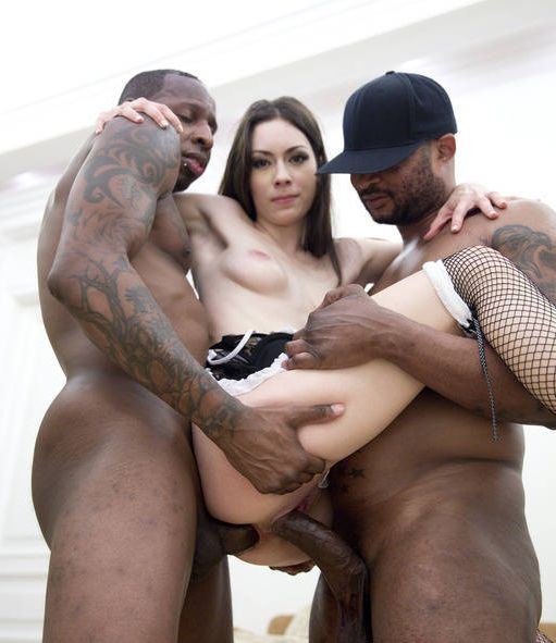 Russian slut Arwen Gold double teamed by two black guys