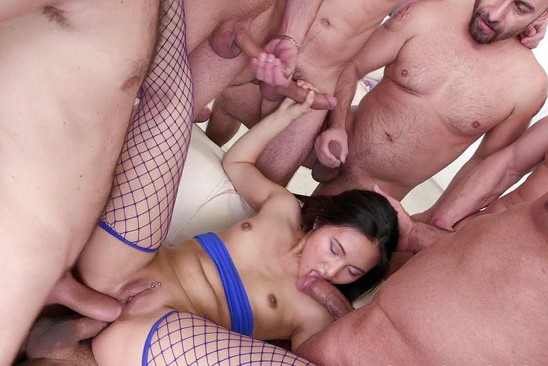 Teenage Asian chick banged by five guys