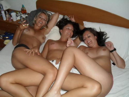Three naked girls are waiting for the lucky guy