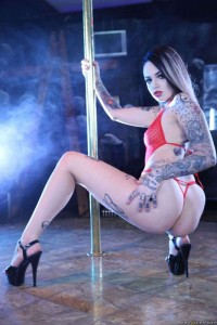 tattooed stripper's nice ass and legs