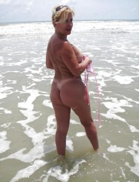 Blonde wife no swimsuit