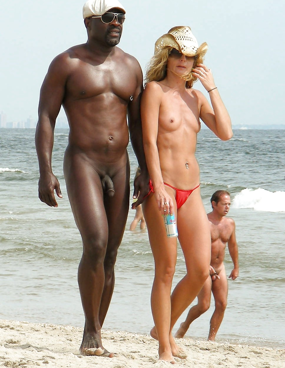 Nude beach men at black