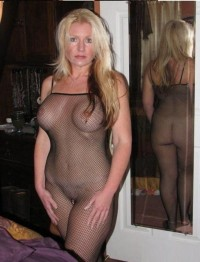 Blonde Milf in a black mesh