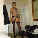 Brunette curvy wife looks hot in her black pantyhose
