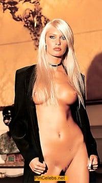 Blonde Brigitta Bulgari nude boobs and shaved pussy