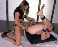 Guy getting fucked with a strapon by his Mistress