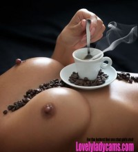 Morning coffee with tits